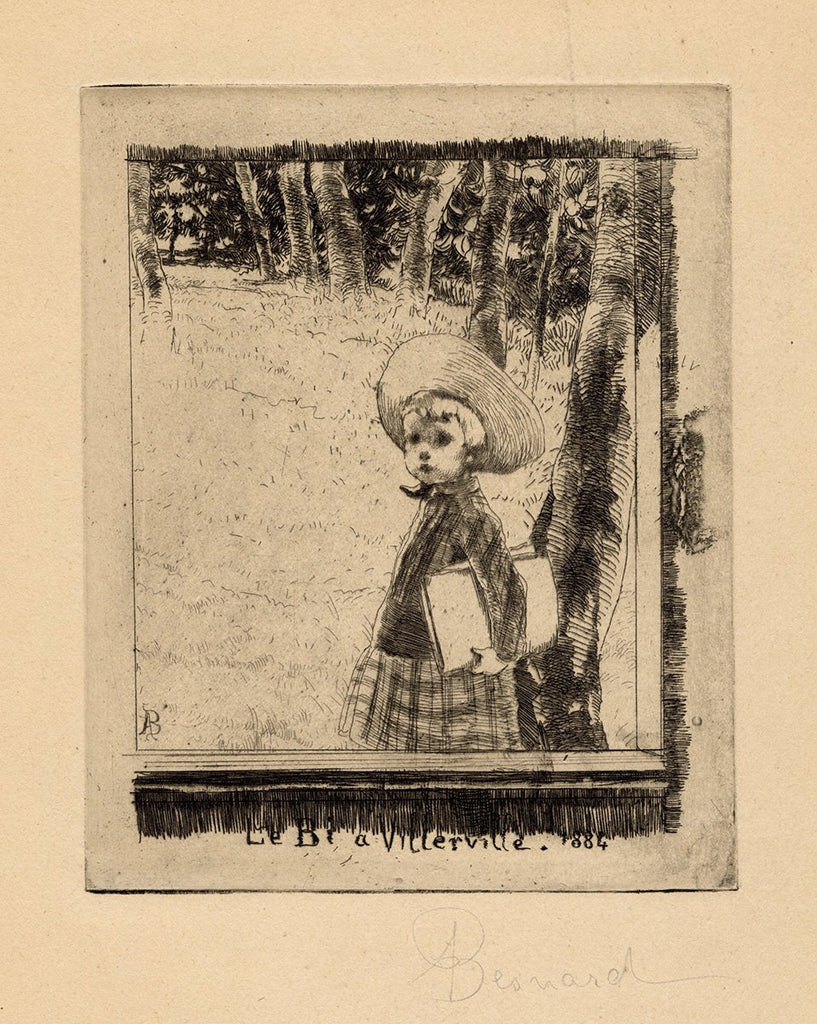 Paul Albert Besnard - Le Bi à Villerville - Robert Besnard - 1884 etching - young boy with drawing pad in hand