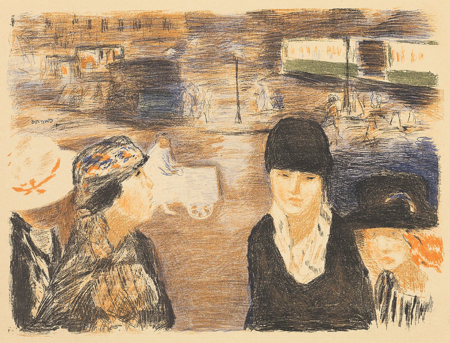 Pierre Bonnard - Place Clichy - color lithograph - lithographie en couleurs