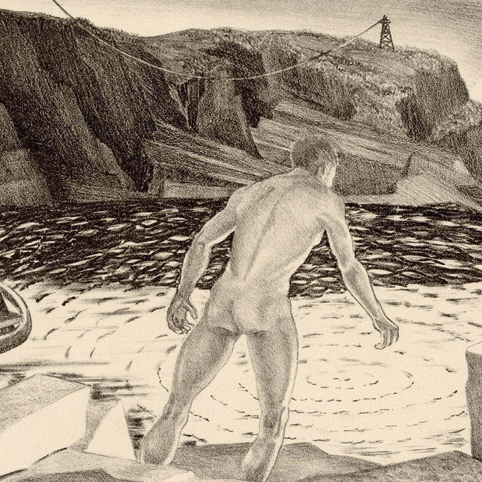 Prentiss Taylor - Flooded Quarry - original lithograph of male nude wading into rain water - telegraph pole - detail