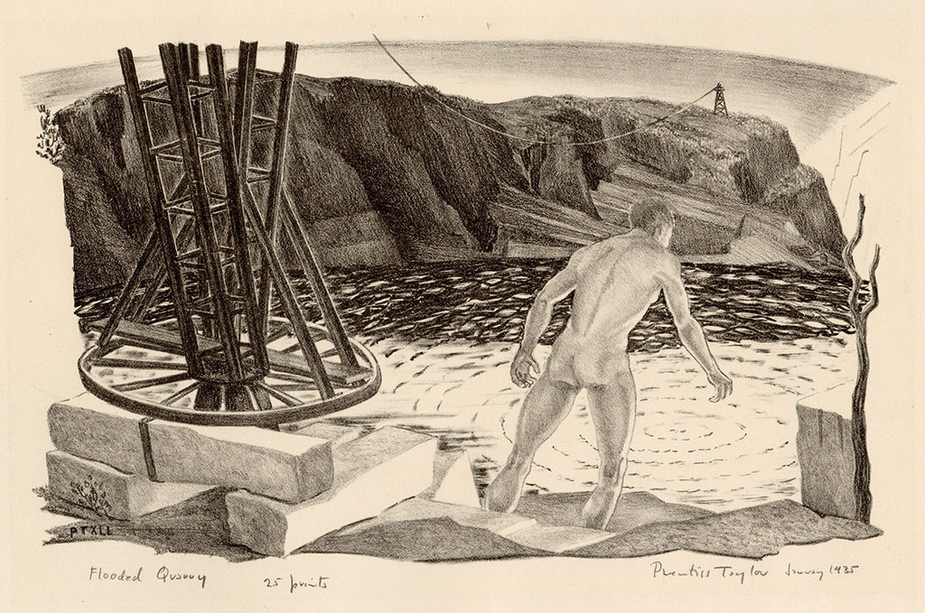 Prentiss Taylor - Flooded Quarry - original lithograph of male nude wading into rain water - telegraph pole