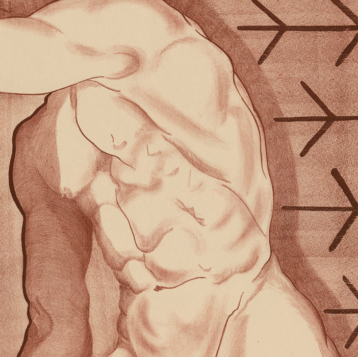 Prentiss Taylor - Swinging Torso - lithograph - nude ochre male against simple background