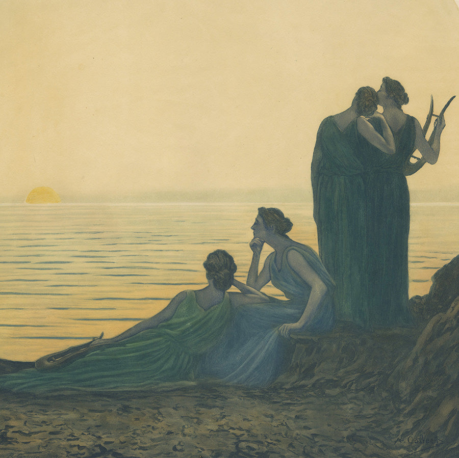 Rene Lorrain - Alphonse Osbert - Soir Antique - color aquatint - detail