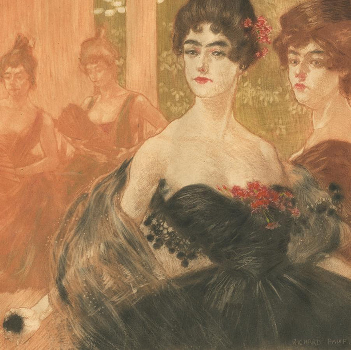 Color aquatint - by RANFT, Richard - titled: At the Ball