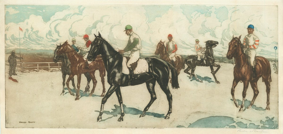 Richard Ranft color etching of horse race
