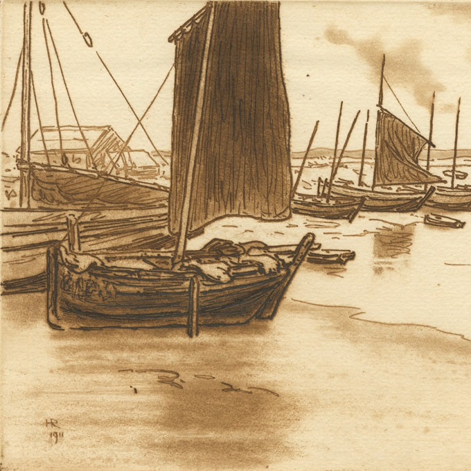 Etching - by RIVIERE, Henri - titled: Boats on the Beach
