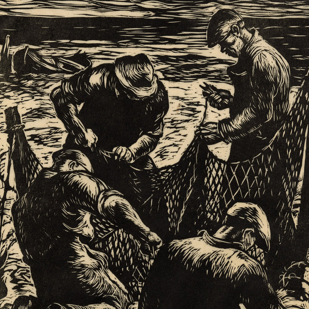 Robert Von Neumann - The Four Netmenders - woodcut - 4 men on beach fixing fishing net