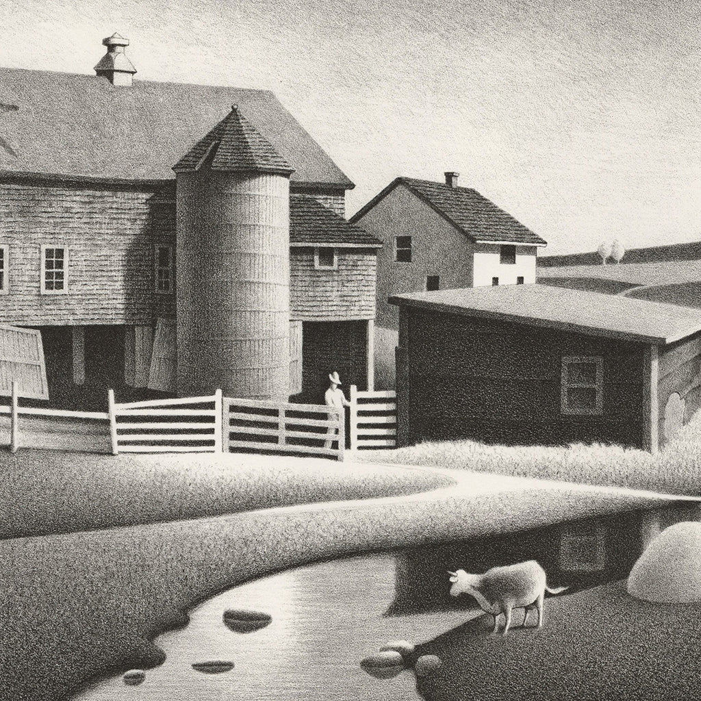 Roger Medearis - Barnyard Gate - lithograph - farm with barn and animals