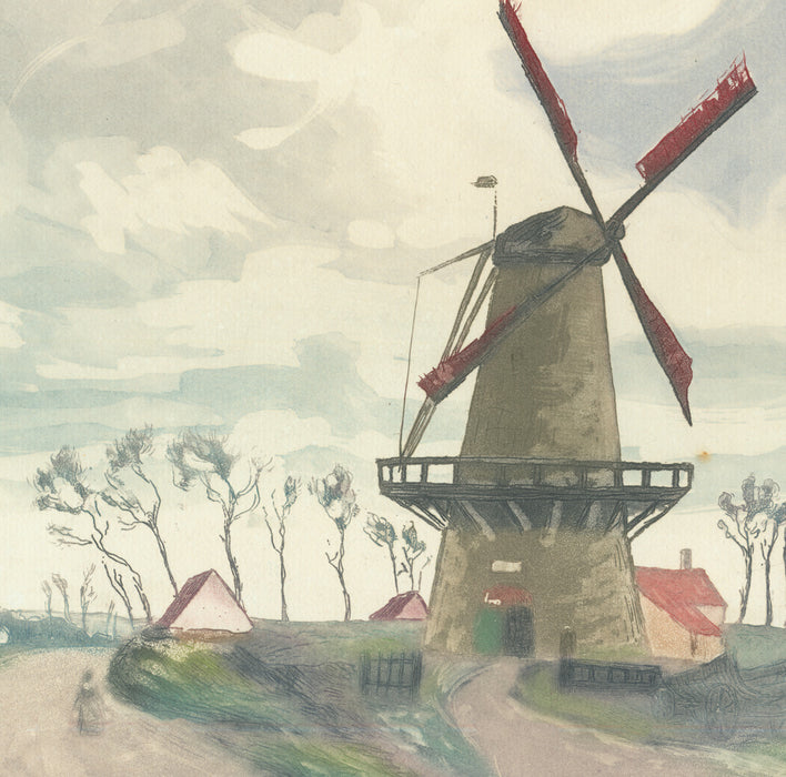 Color aquatint and etching - by ROUX-CHAMPION, Victor-Joseph - titled: The Windmill