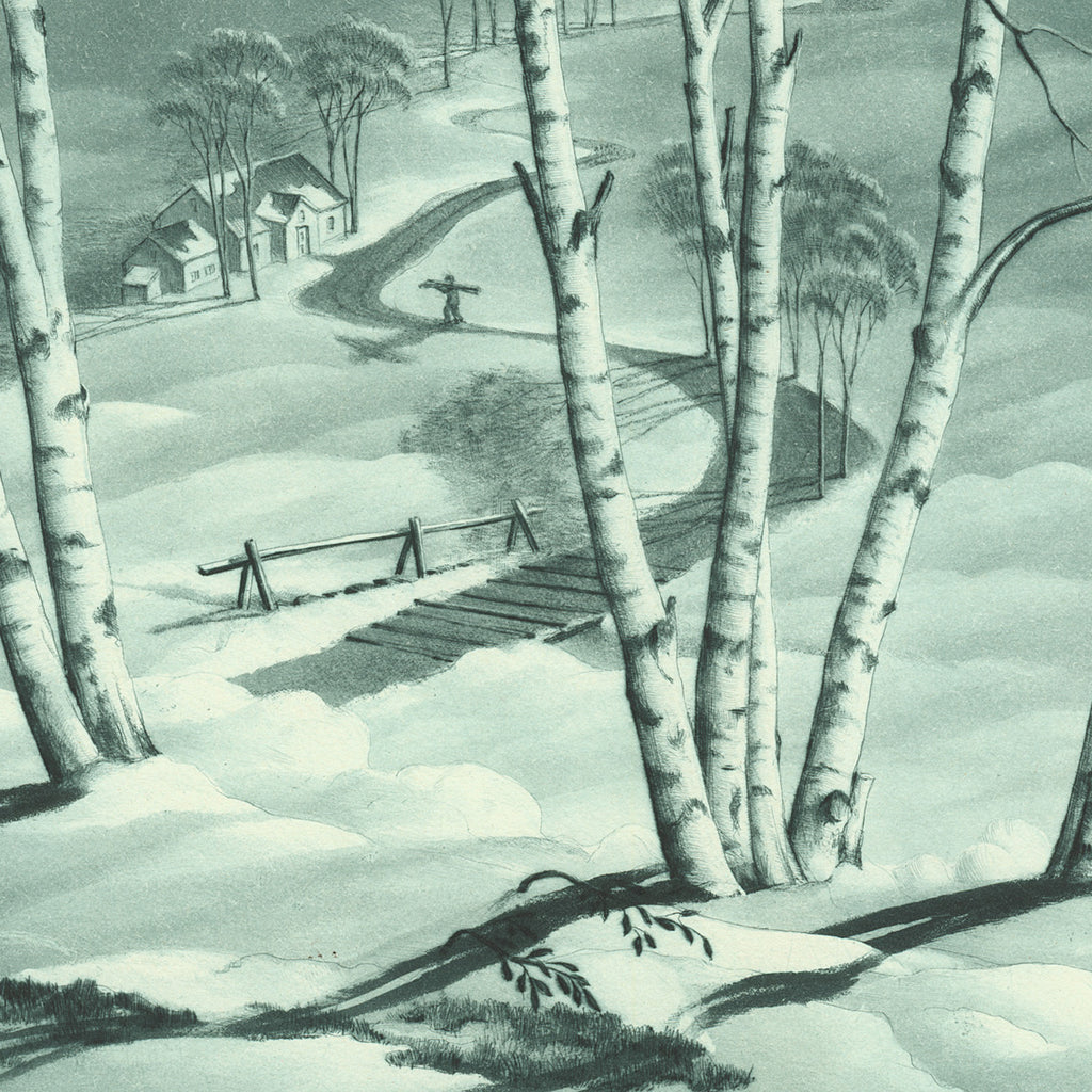 Samuel L. Margolies - Lengthening Shadows - snow scene - lithograph