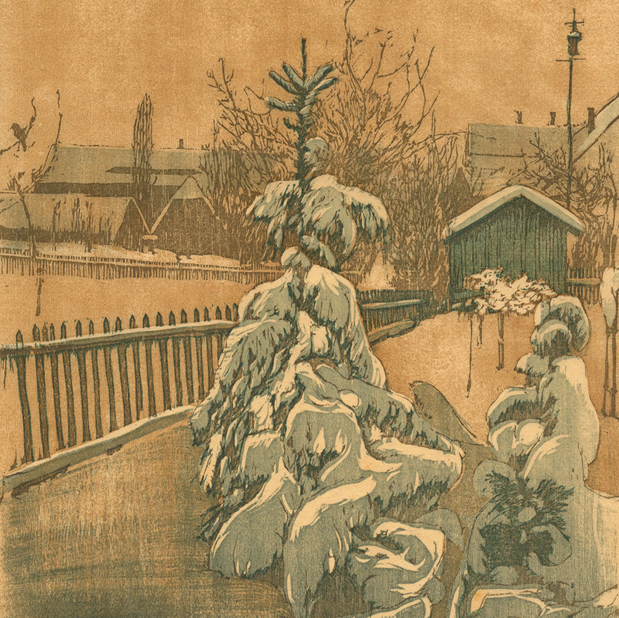 Siegfried Berndt - Der Verschneiter Garten - The Snow Garden - 1909 - color woodcut