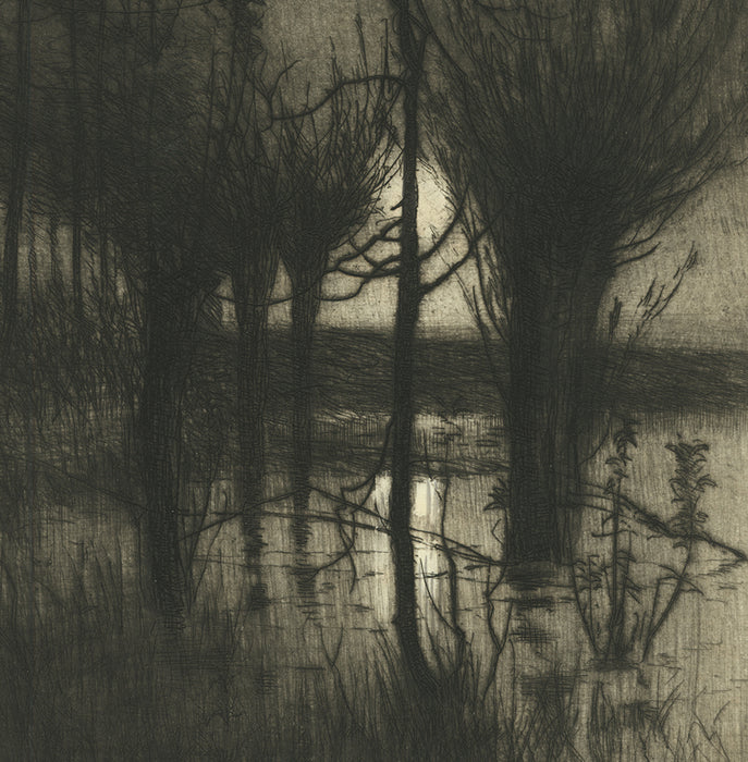 Etching - by EAST, Sir Alfred - titled: Rising Moon