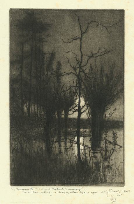 Sir Alfred East - Rising Moon - New Year's Wishes 1903 - etching roulette