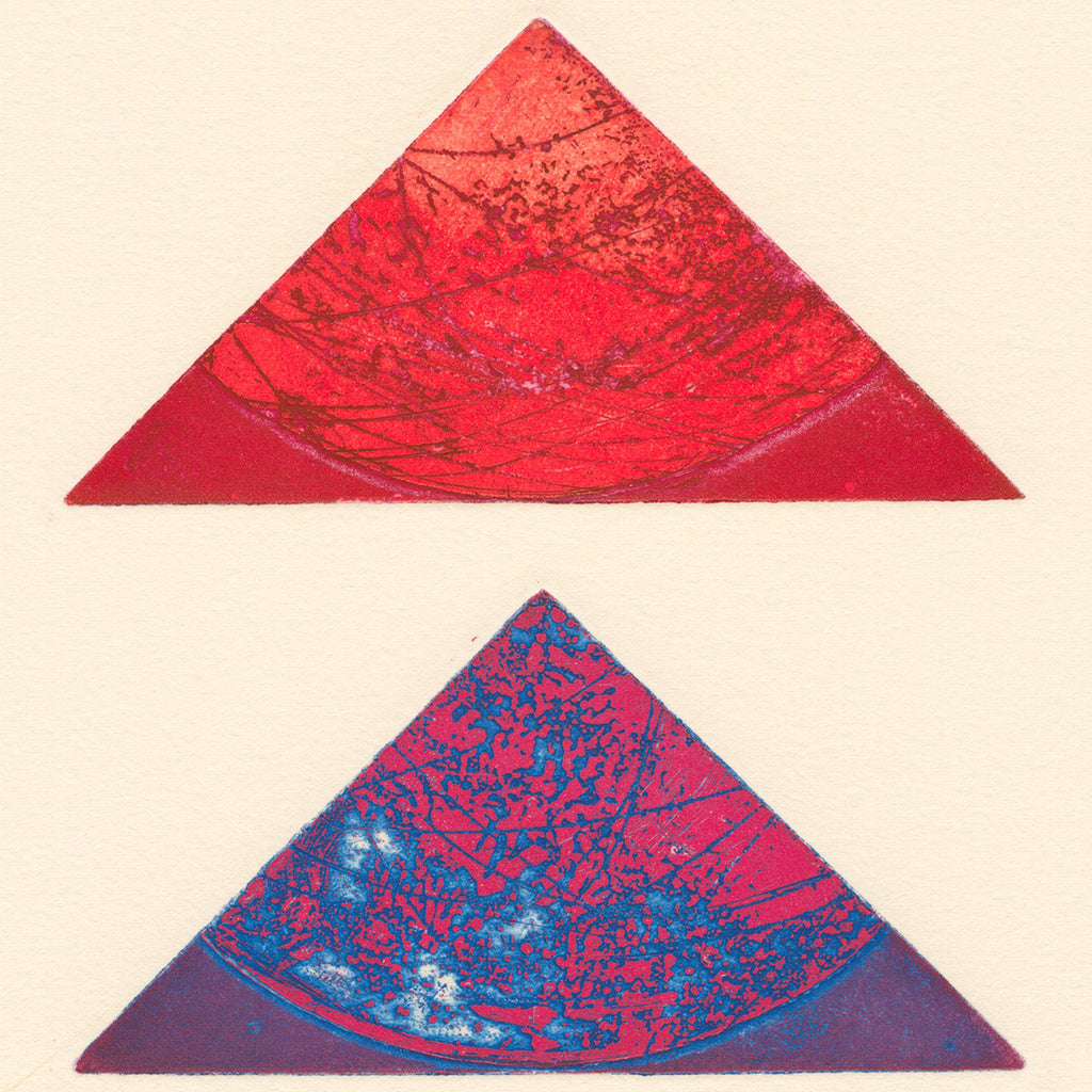 Terry Haass - Kaleidoscope 4 - 1972 - 284.4 - etching aquatint red purple triangles geometric