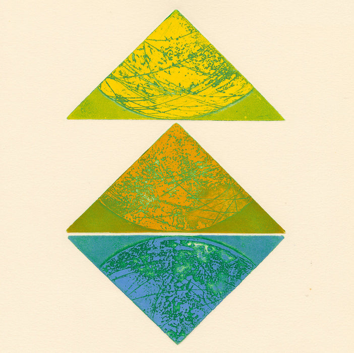 Terry Haass - Kaleidoscope 5 - 1972 - 284.5 - aquatint and etching cutout triangle yellow green blue