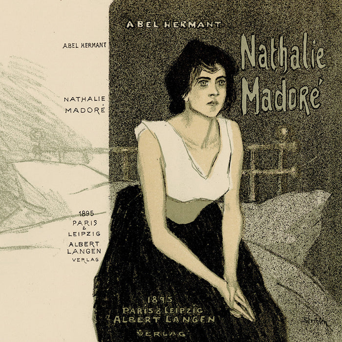 Theophile-Alexandre Steinlen - Nathalie Madore - book cover - Abel Hermant - pensive woman sitting on a bed - detail