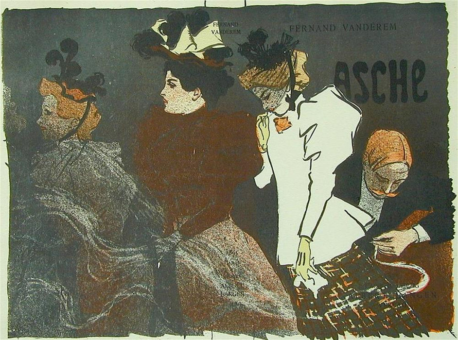 Theophile Alexandre STEINLEN - Asche - color lithograph - book cover Verneau - elegant women