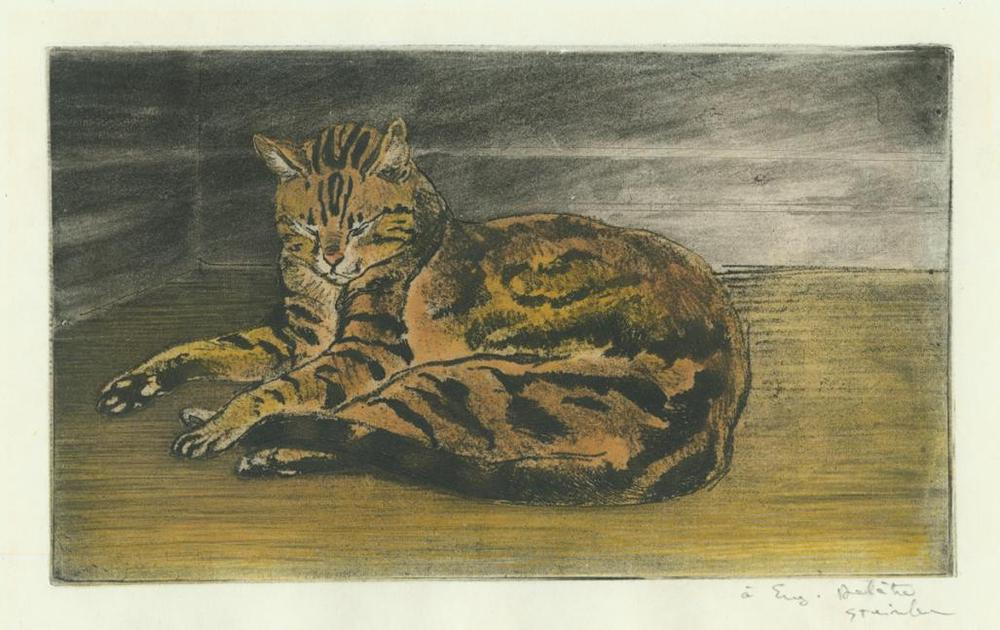 Theophile Alexandre STEINLEN - Chat sur le Plancher - color softground etching - cat laying