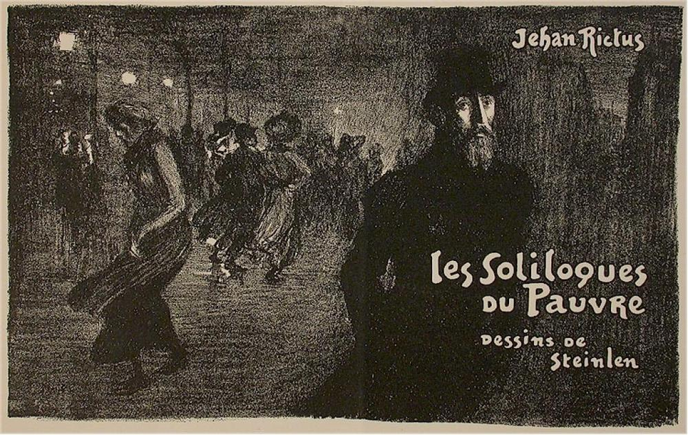 Theophile Alexandre STEINLEN - Les Soliloques du Pauvre - lithograph - frontispiece -People walking in the streets