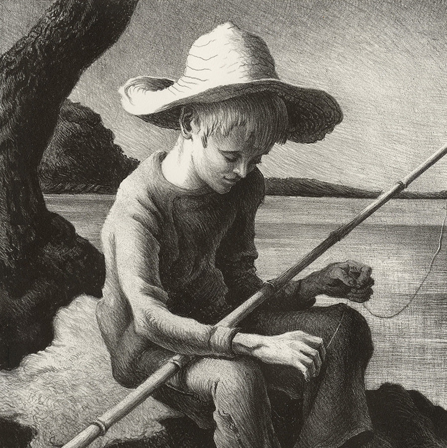 Thomas Hart Benton - The Little Fisherman - teenage boy baiting his fishing rod -lithograph -  detail