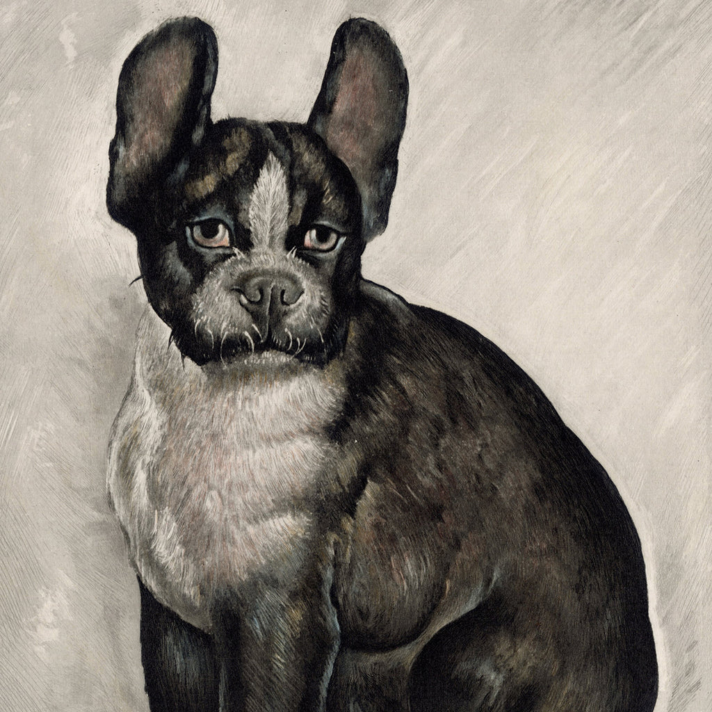 Toshio Bando - Bouldogue Assis - Seated French Bulldog - intaglio - detail
