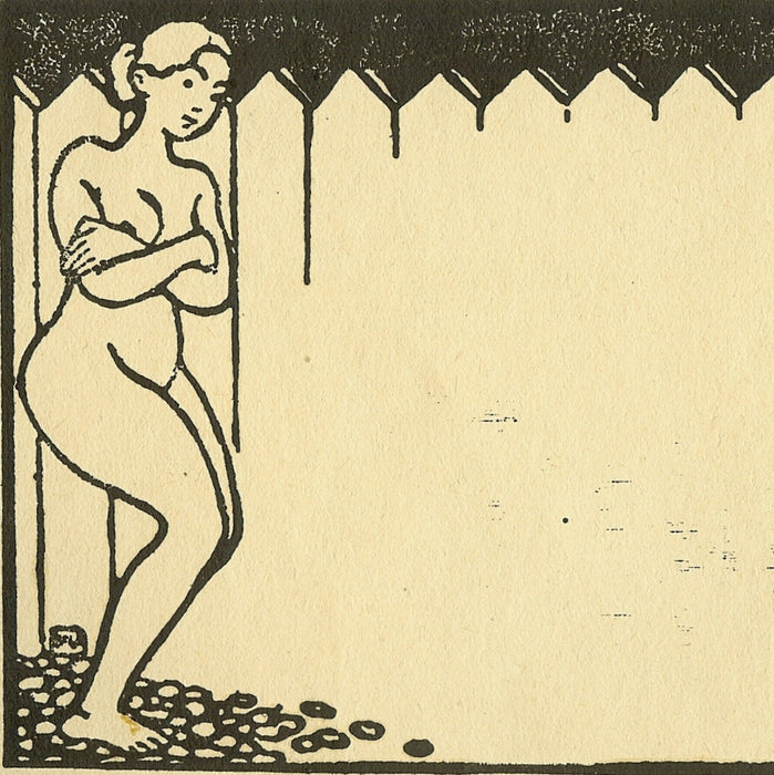 Felix Vallotton - Femme Nue a la Palissade - Nude Woman by a fence - woodcut - Vallotton & Goerg 117-126