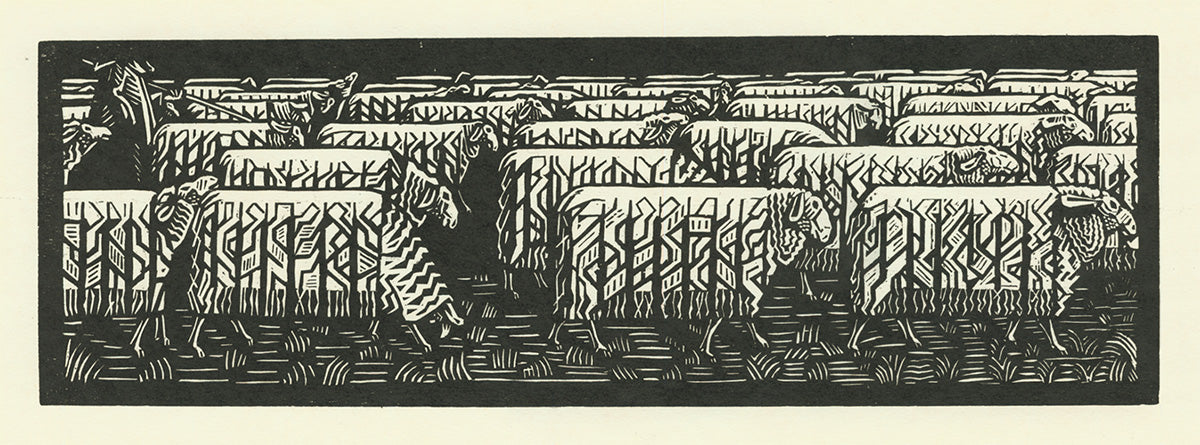 Victor Delhez - Troupeau de Mouton - Sheet Herd - woodcut