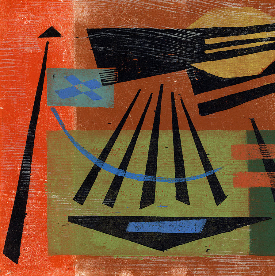 Werner Drewes - Summer Heat - 1978 - modernist color woodcut - detail