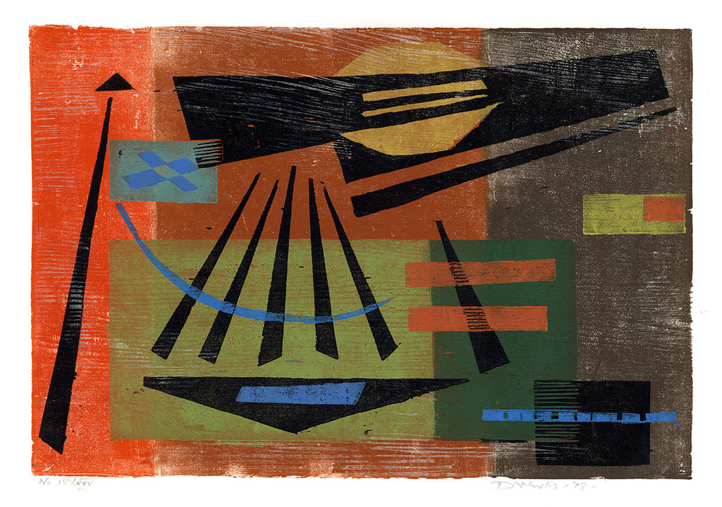Werner Drewes - Summer Heat - 1978 - modernist color woodcut