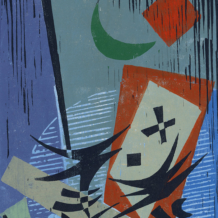 Werner Drewes - The Green Moon - 1973 - mid-century moder woodcut - Bauhaus - detail