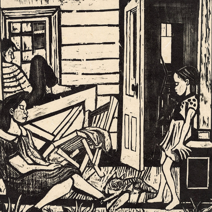 Will Barnet - Porch - Waiting - woodcut on Japanese paper - 1937 - detail