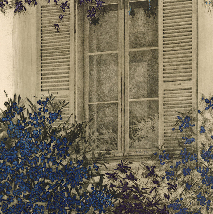 Yannick Ballif - Fenetre d'Ete - window with slatted shade blue flowers - detail