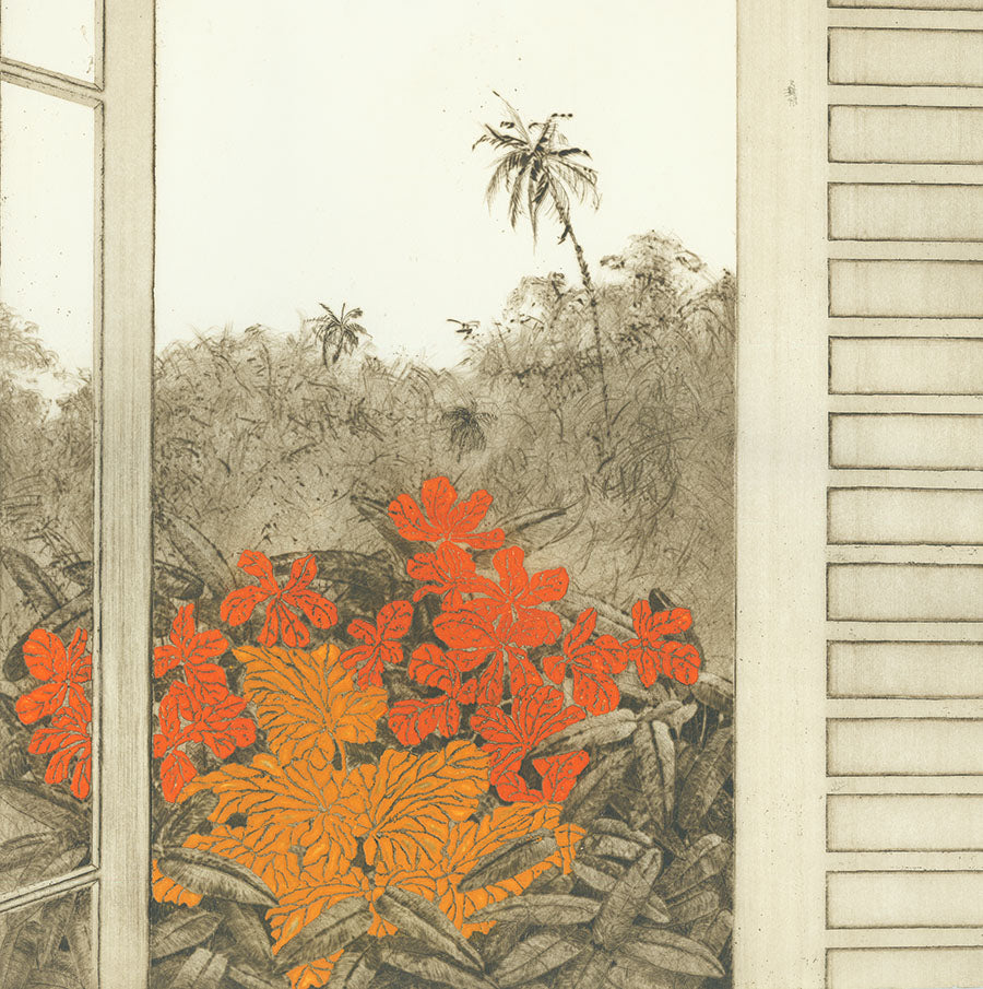 Yannick Ballif - Luz do Dia - Daylight - embossed print - color aquatint - drypoint - room with a view - window - detail