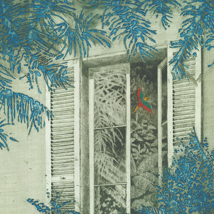 Yannick Ballif - Papagaio - Parrot bright colored macaw - fly into window - real leaves - detail