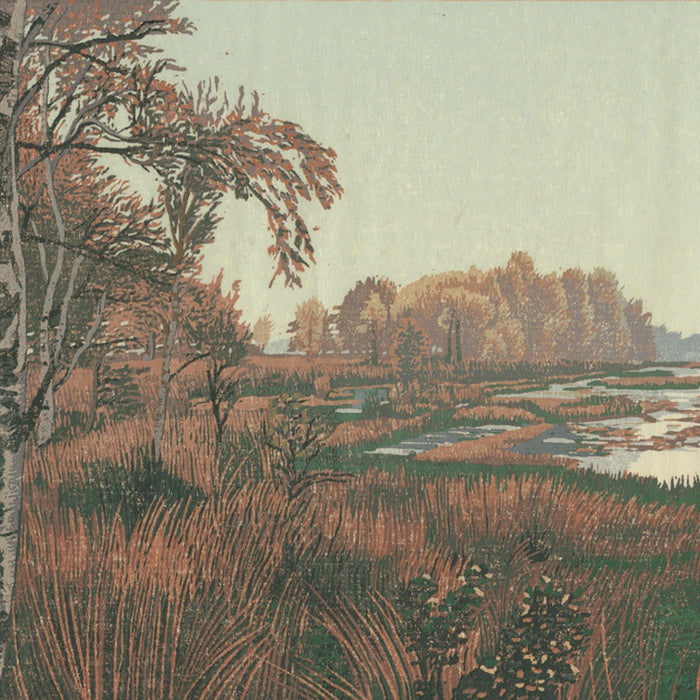 Color woodcut - by DIJKSTRA, Siemen - titled: The Long Forgotten Path on Holt Moor