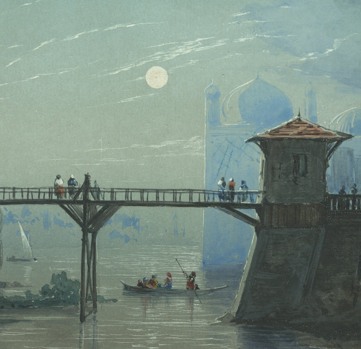 Gouache - by GIBERT, Henri Emile - titled: Taj Mahal by Moonlight