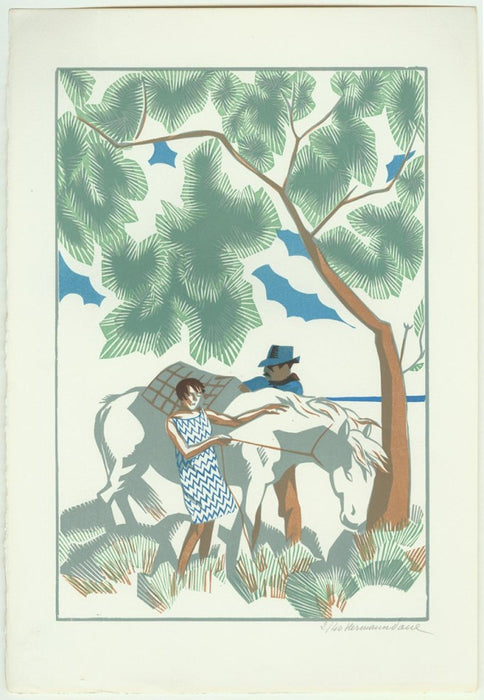 Color woodcut - by HERMANN-PAUL, Rene G. - titled: Le Cheval Blanc
