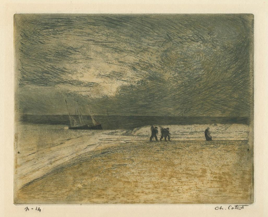 Drypoint, etching and aquatint - by COTTET, Charles - titled: The Return of the Fishermen
