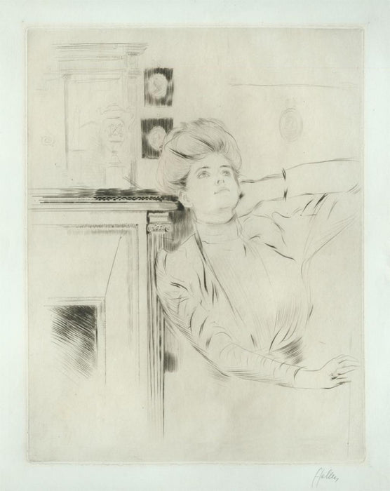 Drypoint - by HELLEU, Paul Cesar - titled: Rubbing Her Neck