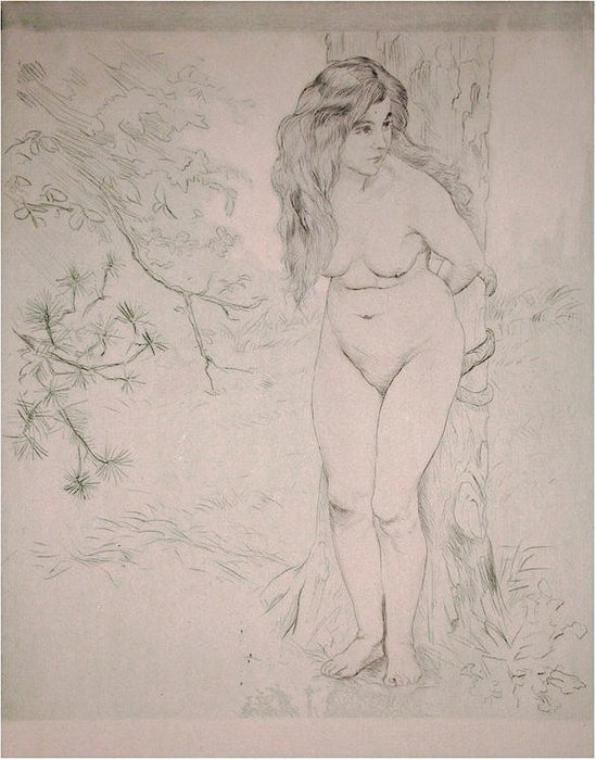 Color etching and aquatint - by MAURIN, Charles - titled: Eve