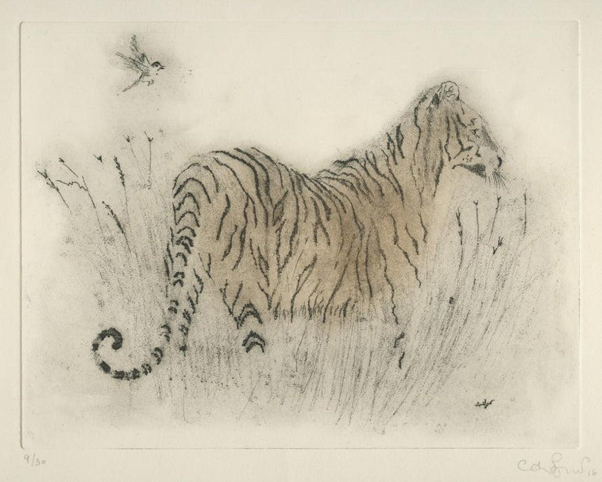 Soft ground etching - by JERETIC, Anna - titled: Tiger and Bird
