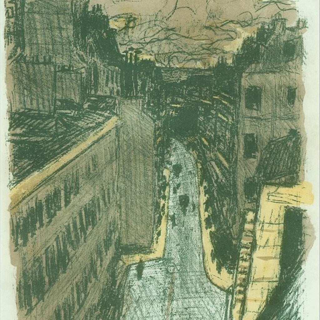 color lithograph by Pierre Bonnard titled Rue Vue d'En Haut from the series Quelques Aspects de la Vie de Paris