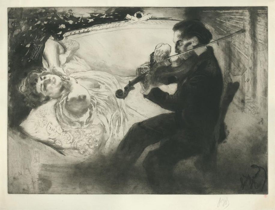 Louis Legrand - Les Amants - lovers - aquatint and etching - violin
