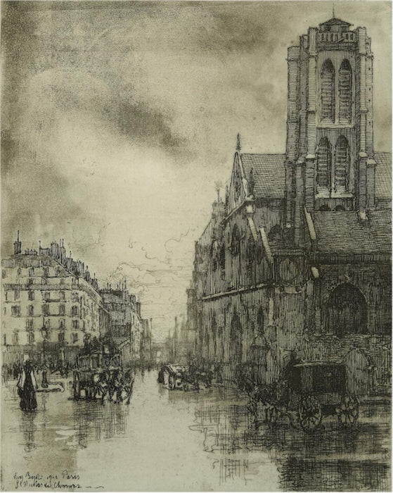 Etching and aquatint - by BEJOT, Eugene - titled: St-Nicolas-des-Champs