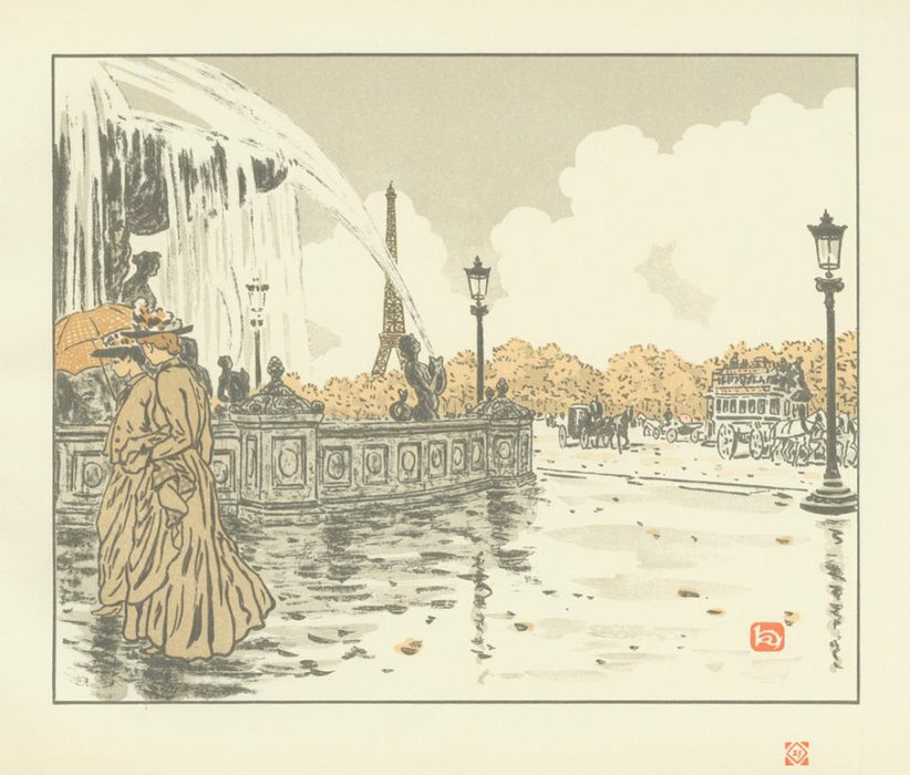 Color lithograph - by RIVIERE, Henri - titled: De la Place de la Concorde