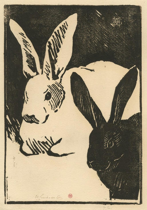 Woodcut - by GUERARD, Henri - titled: Les Lapins