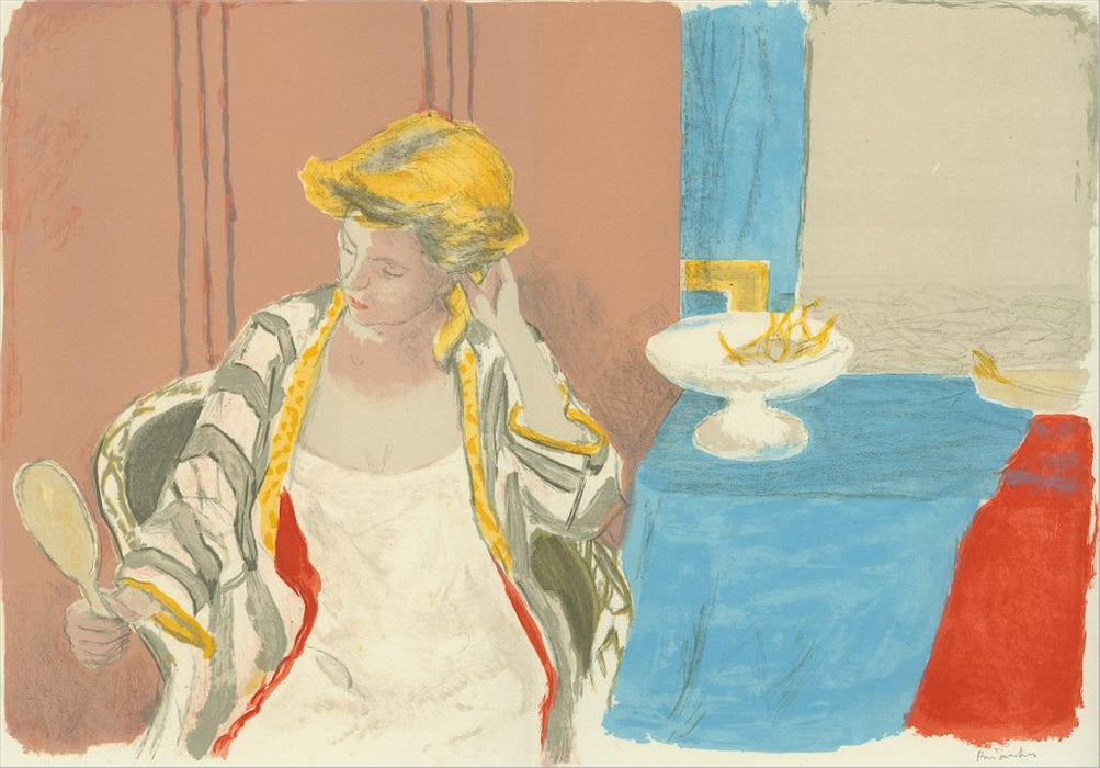 Color lithograph - by BRIANCHON, Maurice - titled: Femme a sa Toilette