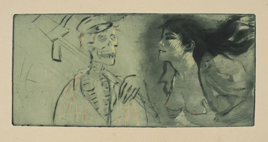 Etching, aquatint and drypoint - by LEGRAND, Louis - titled: La Mort n'a pas Faim 2