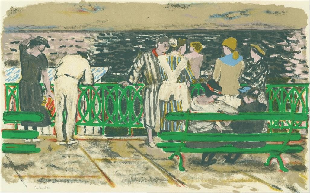 Color lithograph - by BRIANCHON, Maurice - titled: La Digue a Saint-Jean-de-Luz