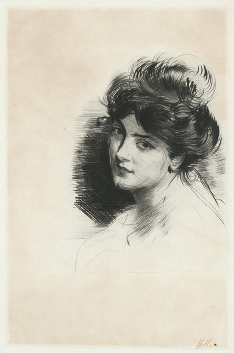Drypoint - by HELLEU, Paul Cesar - titled: Head of a Woman with a Bun