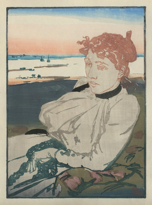Color woodcut - by LEPERE, Auguste - titled: Convalescente, Mme Lepere